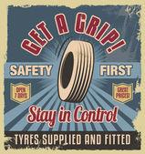 Vintage metal sign. Retro garage poster - car tyres — Stock Vector