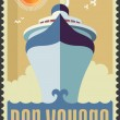 Vintage retro cruise ship - Holiday travel poster illustration — Stock Vector #46239371