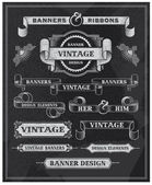 Vintage banner and ribbon design set — Stock Vector