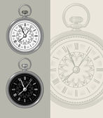 Vintage retro watch - pocket watch, clock face vector design. — Stock Vector