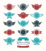 Set of retro vintage badge vector icon set — Stock Vector