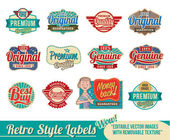 Vintage retro labels and badge emblems — Stock Vector