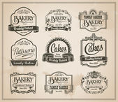 Vintage Retro Bakery Labels and Sign Set — Stock Vector