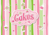 Hand Drawn Cake Label Doodle Vector Design — Stock vektor