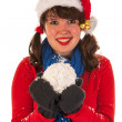 Winter girl with hat Santa Claus and snow — Stock Photo