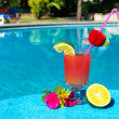 cocktail drink i simning ppol — Stockfoto #12873330