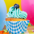 Birthday cupcake — Stock Photo