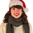 Stock Photo: Winter girl with hat Santa Claus