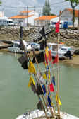 Flags from fishing boats Boyardville France — Stock Photo