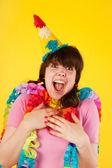 Garota está tendo um aniversário deslumbrante — Foto Stock