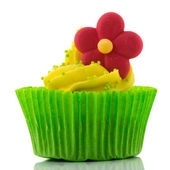 Colorful single cupcake — Stock Photo
