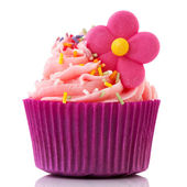 Colorful single cupcake in purple — Stock Photo