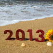 Stock Photo: 2013 on beach