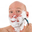 Shaving bald man — Stock Photo