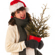 Winter girl with hat Santa Claus - Stock Photo