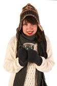 Winter girl drinking hot chocolate — Stock Photo