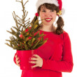 Winter girl with hat Santa Claus — Stock Photo #15610741