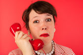 Woman with sad phone call — Stock Photo
