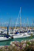 Island Oleron in France with yachts in harbor — Stock Photo