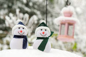 Two Snowmen outdoor — Stock Photo