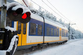 Dutch train in snow — Stok fotoğraf