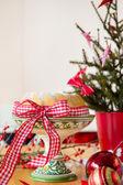 Christmas turban at the table — Stock Photo