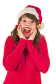 Winter girl with hat Santa Claus — Stock Photo