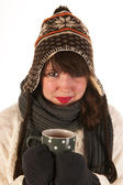 Winter girl with hot chocolate — Stock Photo