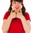 Funny girl with thumbs up — Stock Photo