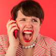 Angry phone call on the smartphone — Stock Photo