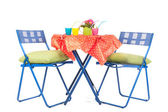 Blue furniture with party drinks — Stock Photo