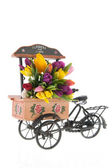 Market car with flowers — Stock Photo