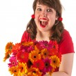 Young girl happy with flowers — Stock Photo