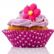 Stock Photo: Pink cupcake with flower