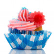 Royalty-Free Stock Photo: Blue and pink cupcake