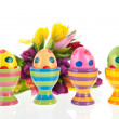 Painted easter eggs with flowers — Stock Photo