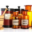 Stock Photo: Apothecary pots with ingredients for medicins