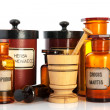 Apothecary pots with ingredients for medicins — Stock Photo #21594787