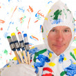 Colorful painting with safety mask — Stock Photo #21594815