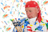 Colorful painting with safety mask — Stock Photo