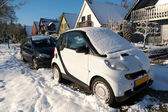 Snow on the cars — Stock Photo