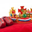 Golden crown on velvet pillow with Dutch flag — Stock Photo
