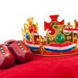 Golden crown on velvet pillow with Dutch flag — Stock Photo