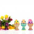 Painted easter eggs with flowers — Stock Photo #22653763