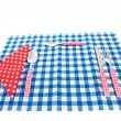 Stock Photo: Cutlery and table cloth