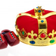 Dutch golden crown for the king and wooden clogs — Stock Photo #24072985