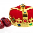 Dutch golden crown for the king and wooden clogs — Stock Photo