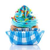 Birthday cupcake with confetti — Stock Photo