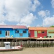 Colorful wooden cabins — Stock Photo