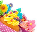 Colorful cupcakes with copy space — Stock Photo